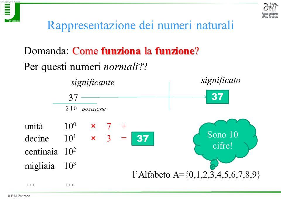 © F.M.Zanzotto Rappresentazione dei numeri naturali Come funziona la funzione? Domanda: Come funziona la funzione? Per questi numeri normali?? 37 sign