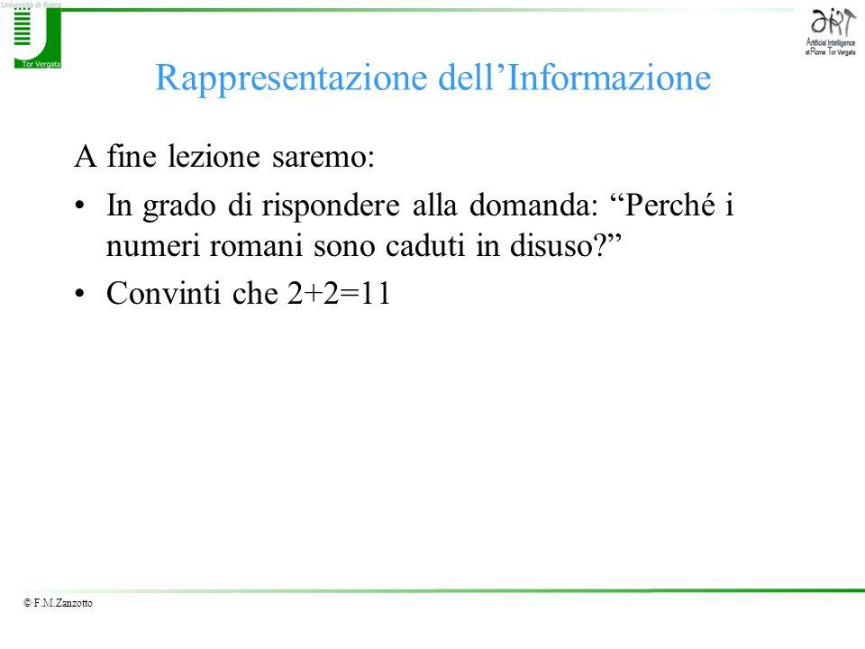 © F.M.Zanzotto Rappresentazione di interi con segno Complemento Interi con segno (Esempio) –Complemento alla base 2 (su 4 cifre) –Sia x = (5) 10, si ha 0<5<8 quindi –r c (x) = –r c (x)= r 2 (x) = (0101) Approfondimento
