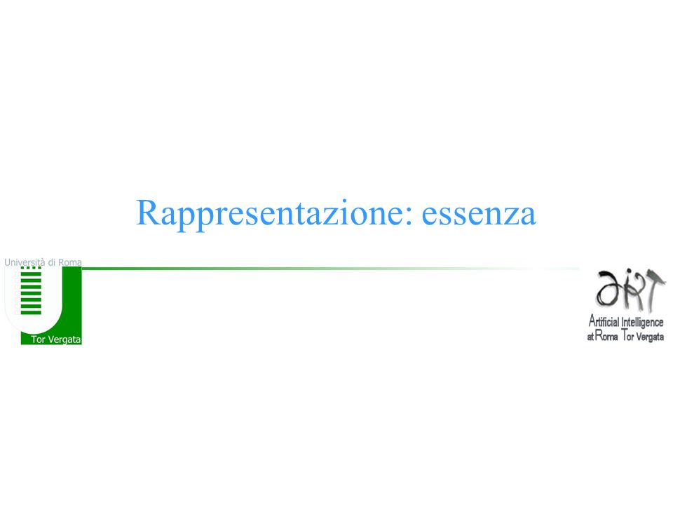 © F.M.Zanzotto Rappresentazione: essenza Una rappresentazione si stabilisce tra –un oggetto da rappresentare (significato) ed –un simbolo (potenzialmente complesso) che lo rappresenta (significante)