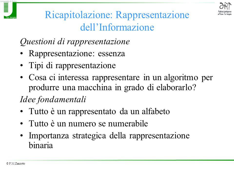 © F.M.Zanzotto Ricapitolazione: Rappresentazione dellInformazione Questioni di rappresentazione Rappresentazione: essenza Tipi di rappresentazione Cos