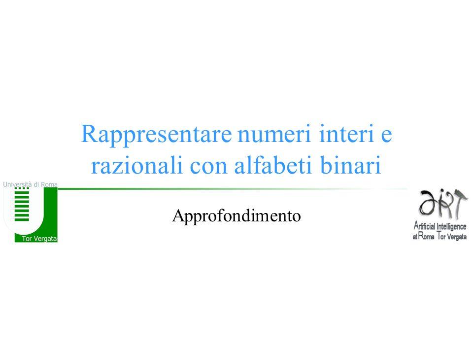 Rappresentare numeri interi e razionali con alfabeti binari Approfondimento