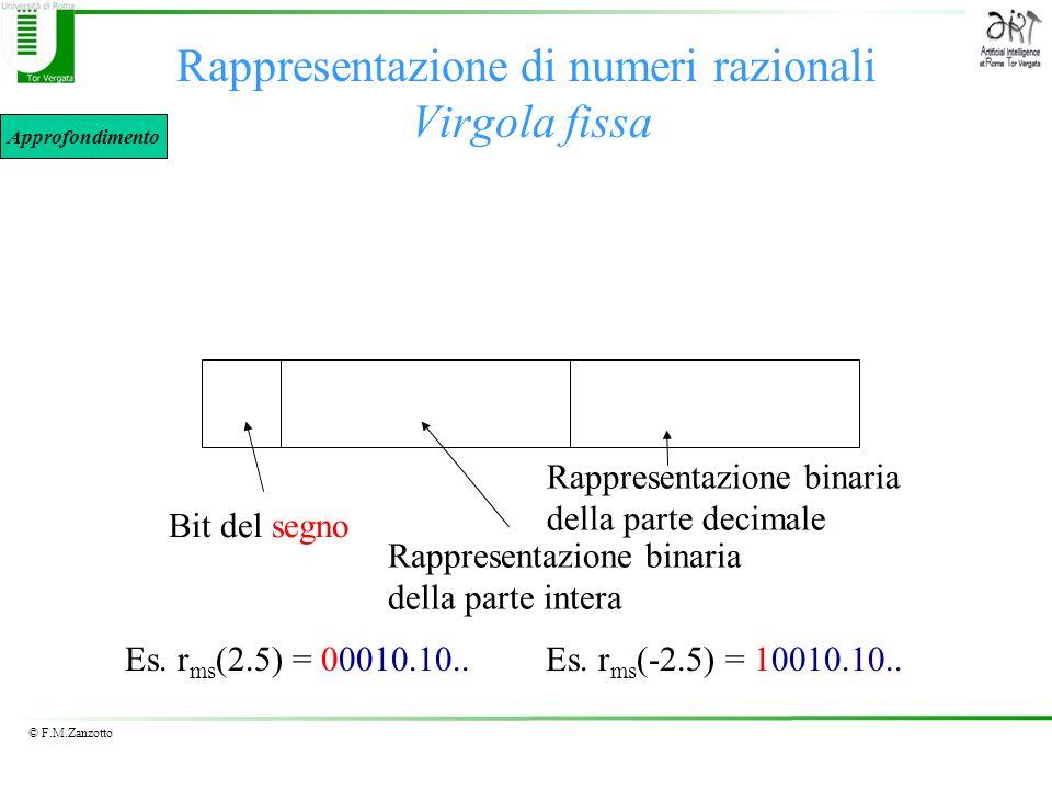 © F.M.Zanzotto Rappresentazione di numeri razionali Virgola fissa Bit del segno Rappresentazione binaria della parte intera Es. r ms (2.5) = 00010.10.