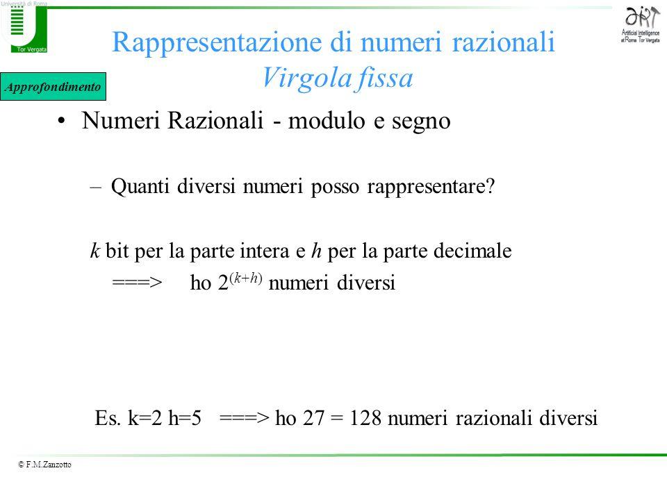 © F.M.Zanzotto Rappresentazione di numeri razionali Virgola fissa Numeri Razionali - modulo e segno –Quanti diversi numeri posso rappresentare? k bit