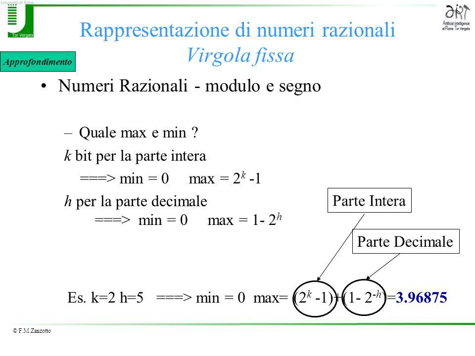 © F.M.Zanzotto Rappresentazione di numeri razionali Virgola fissa Numeri Razionali - modulo e segno –Quale max e min ? k bit per la parte intera ===>