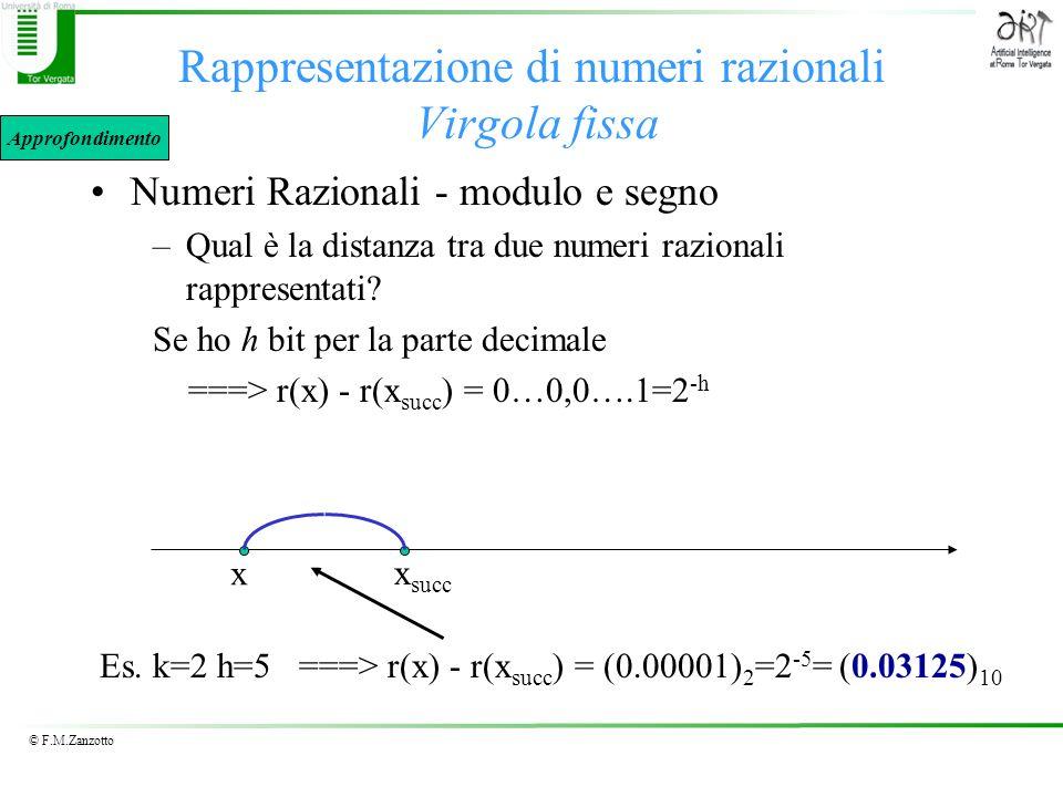 © F.M.Zanzotto Rappresentazione di numeri razionali Virgola fissa Numeri Razionali - modulo e segno –Qual è la distanza tra due numeri razionali rappr