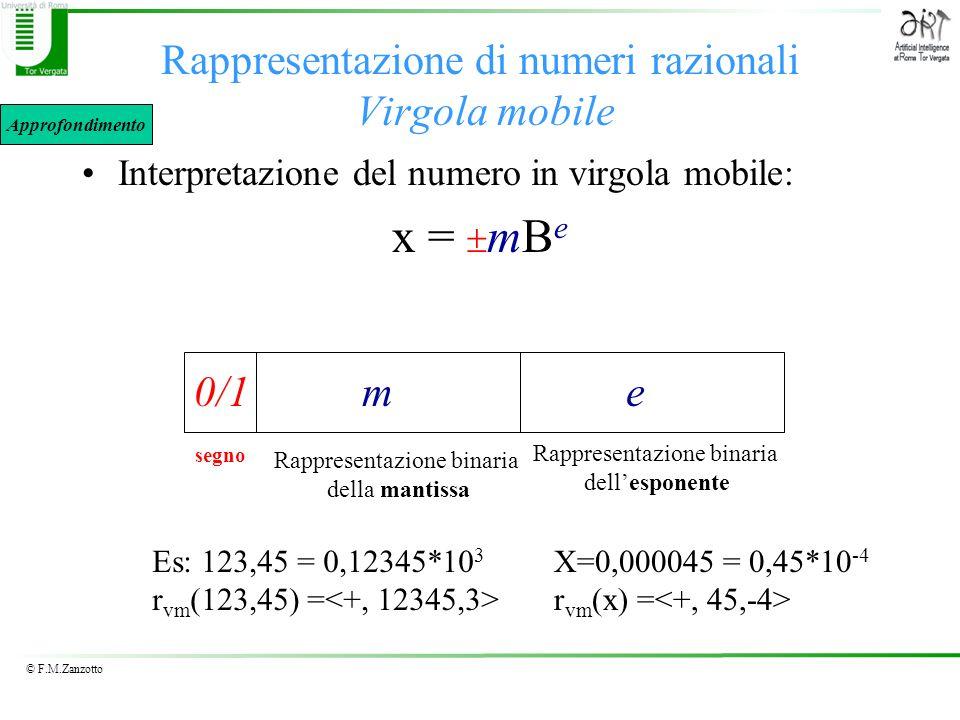 © F.M.Zanzotto Rappresentazione di numeri razionali Virgola mobile Interpretazione del numero in virgola mobile: x = mB e segno Rappresentazione binar