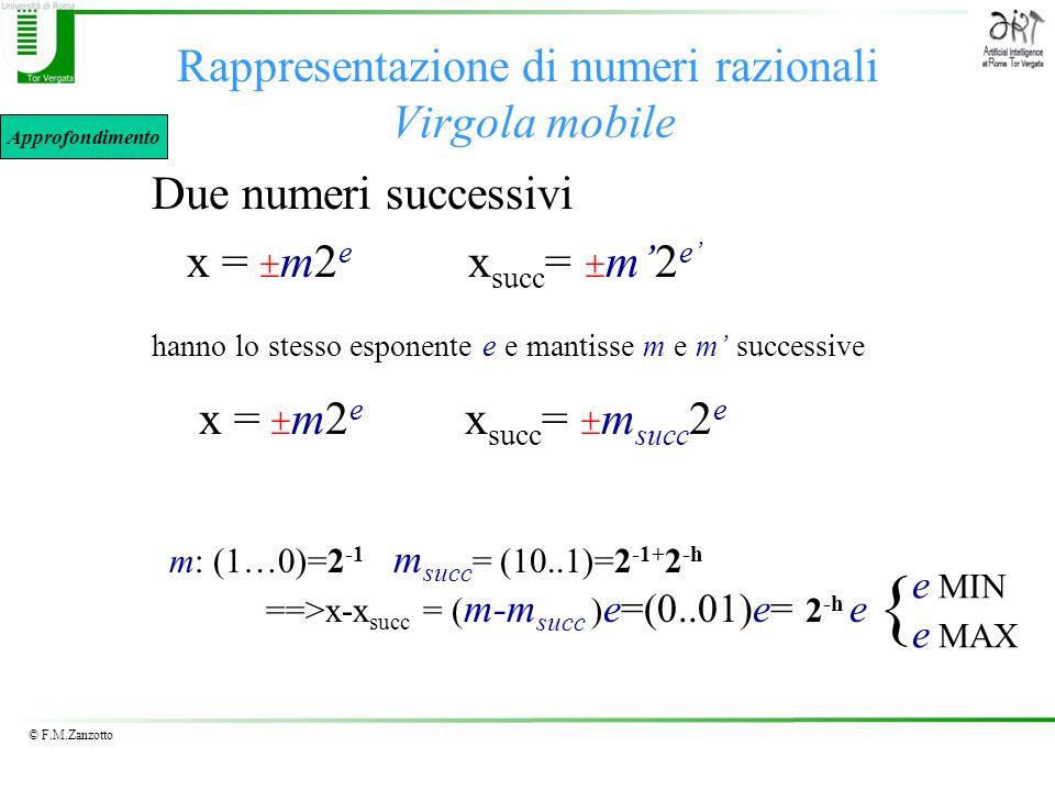 © F.M.Zanzotto Rappresentazione di numeri razionali Virgola mobile Due numeri successivi x = m2 e x succ = m2 e hanno lo stesso esponente e e mantisse