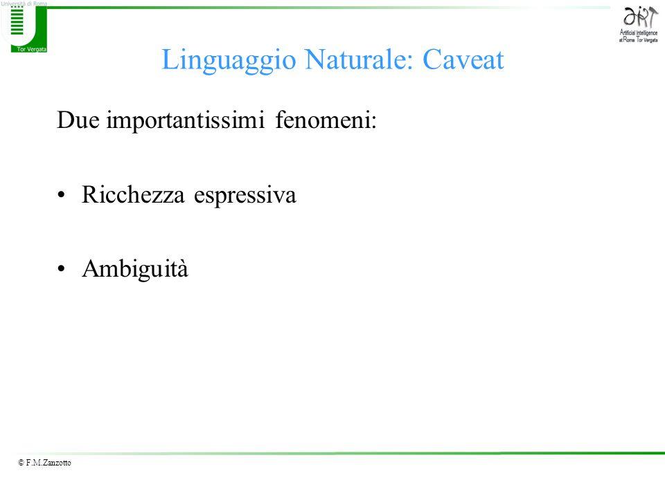 © F.M.Zanzotto Linguaggio Naturale: Caveat Due importantissimi fenomeni: Ricchezza espressiva Ambiguità