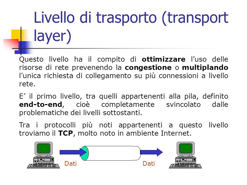 Livello di trasporto (transport layer) Questo livello ha il compito di ottimizzare luso delle risorse di rete prevenendo la congestione o multiplando lunica richiesta di collegamento su più connessioni a livello rete.