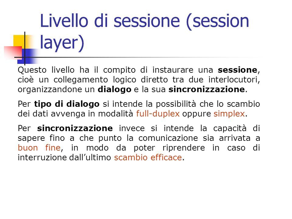 Livello di sessione (session layer) Questo livello ha il compito di instaurare una sessione, cioè un collegamento logico diretto tra due interlocutori, organizzandone un dialogo e la sua sincronizzazione.