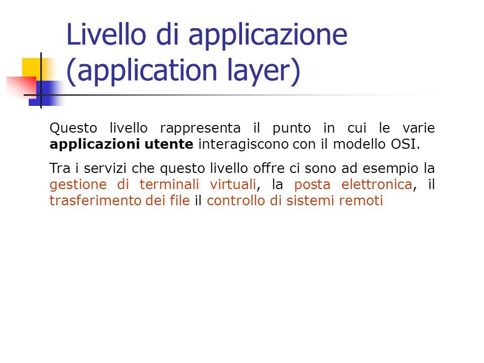 Livello di applicazione (application layer) Questo livello rappresenta il punto in cui le varie applicazioni utente interagiscono con il modello OSI.