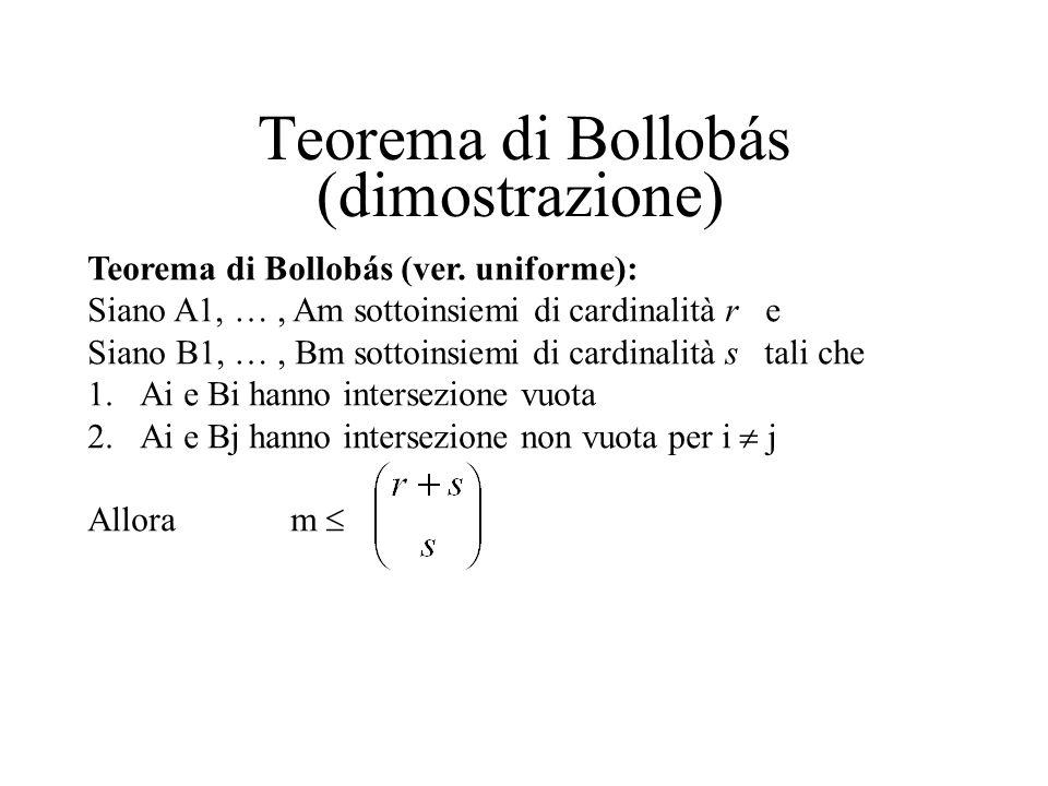 Teorema di Bollobás (dimostrazione) Ai interseca Bj (ai b j1 ) (ai b j2 ) … (ai b js ) = 0 fj(ai) m d d polinomi base generano tutte le fj(): fj(x) =