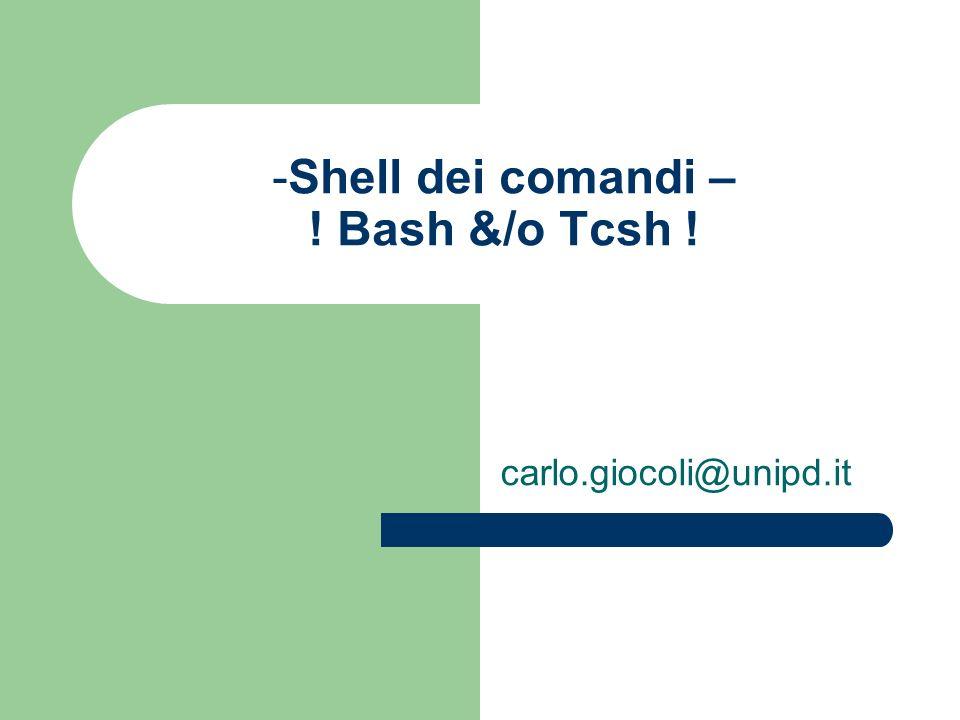 -Shell dei comandi – ! Bash &/o Tcsh ! carlo.giocoli@unipd.it