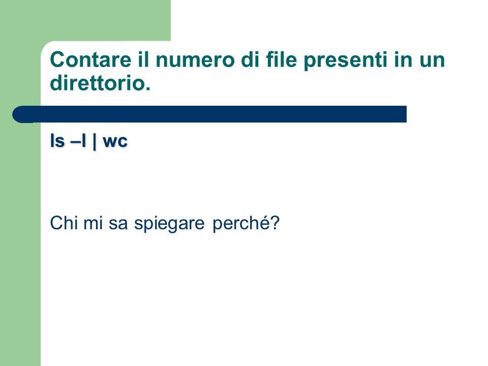 Contare il numero di file presenti in un direttorio. ls –l | wc Chi mi sa spiegare perché?