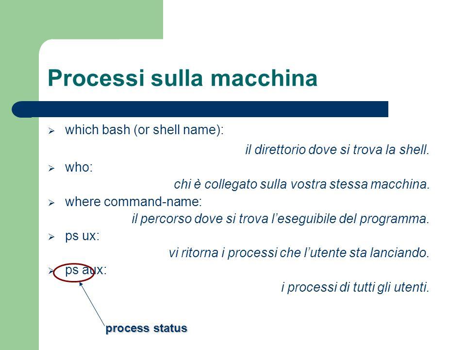 Processi sulla macchina which bash (or shell name): il direttorio dove si trova la shell. who: chi è collegato sulla vostra stessa macchina. where com