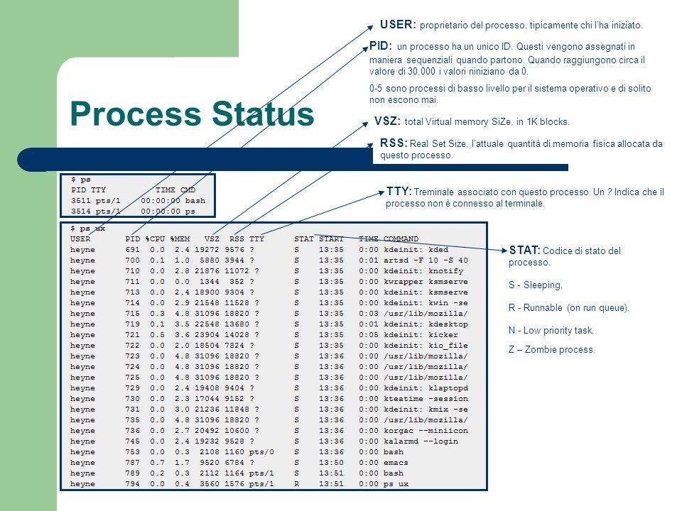 Process Status USER: proprietario del processo, tipicamente chi lha iniziato. PID: un processo ha un unico ID. Questi vengono assegnati in maniera seq