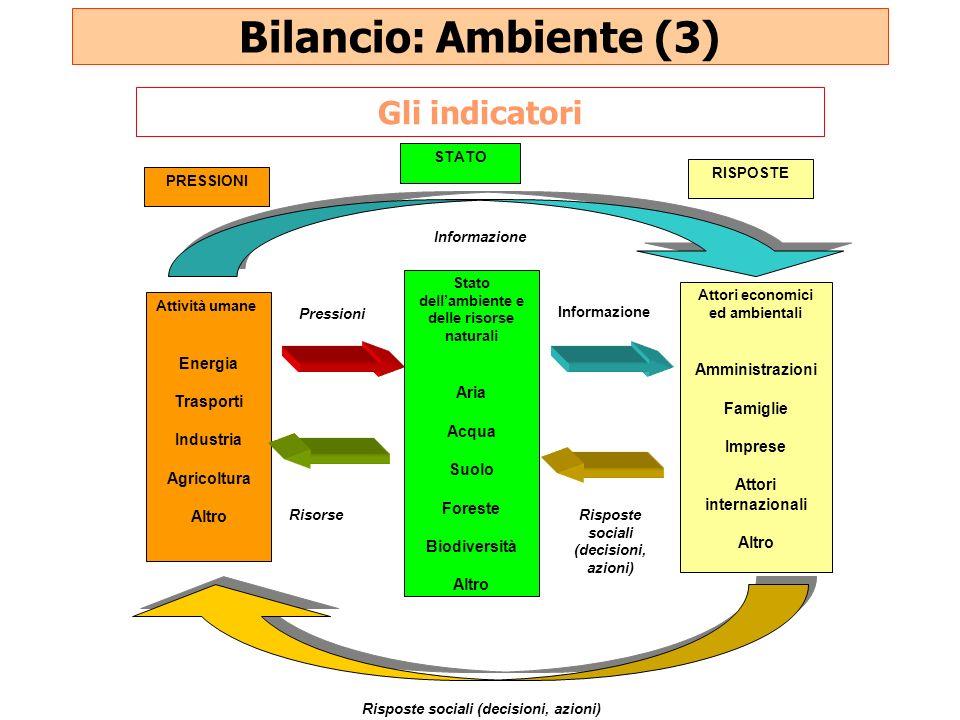 Bilancio: Ambiente (3) Attività umane Energia Trasporti Industria Agricoltura Altro PRESSIONI Attori economici ed ambientali Amministrazioni Famiglie