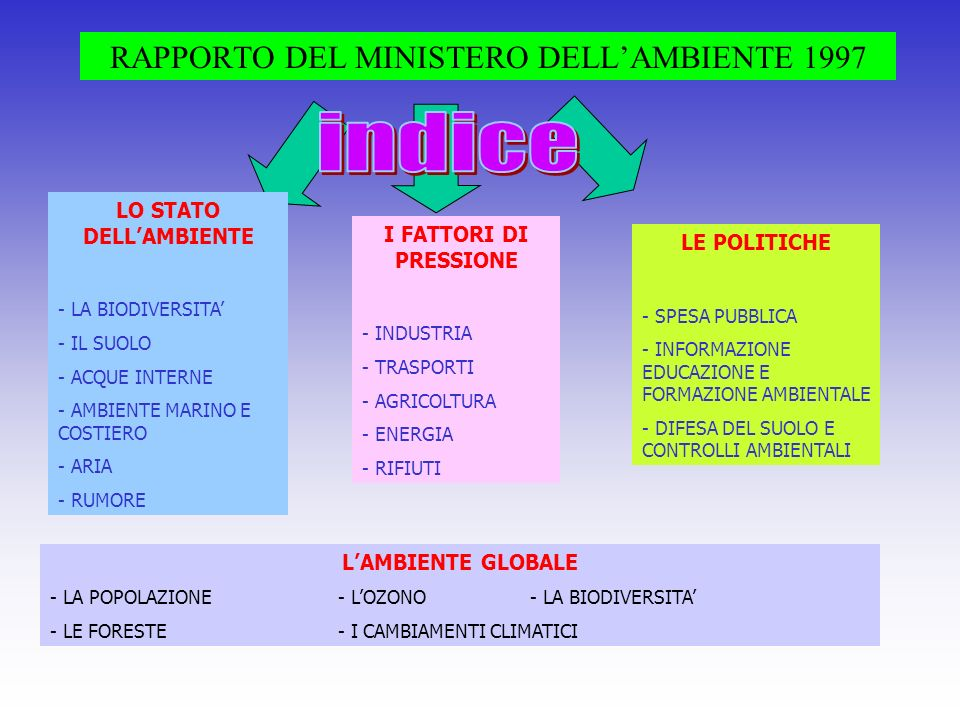RAPPORTO DEL MINISTERO DELLAMBIENTE 1997 LO STATO DELLAMBIENTE - LA BIODIVERSITA - IL SUOLO - ACQUE INTERNE - AMBIENTE MARINO E COSTIERO - ARIA - RUMO