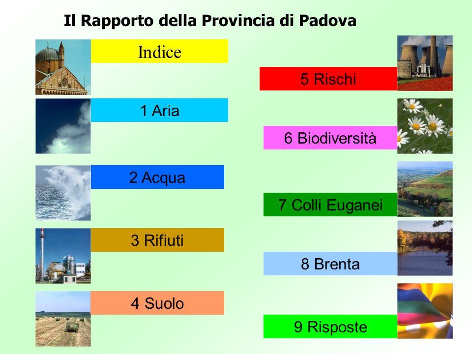 Il Rapporto della Provincia di Padova Indice 1 Aria 2 Acqua 3 Rifiuti 4 Suolo 5 Rischi 6 Biodiversità 7 Colli Euganei 8 Brenta 9 Risposte