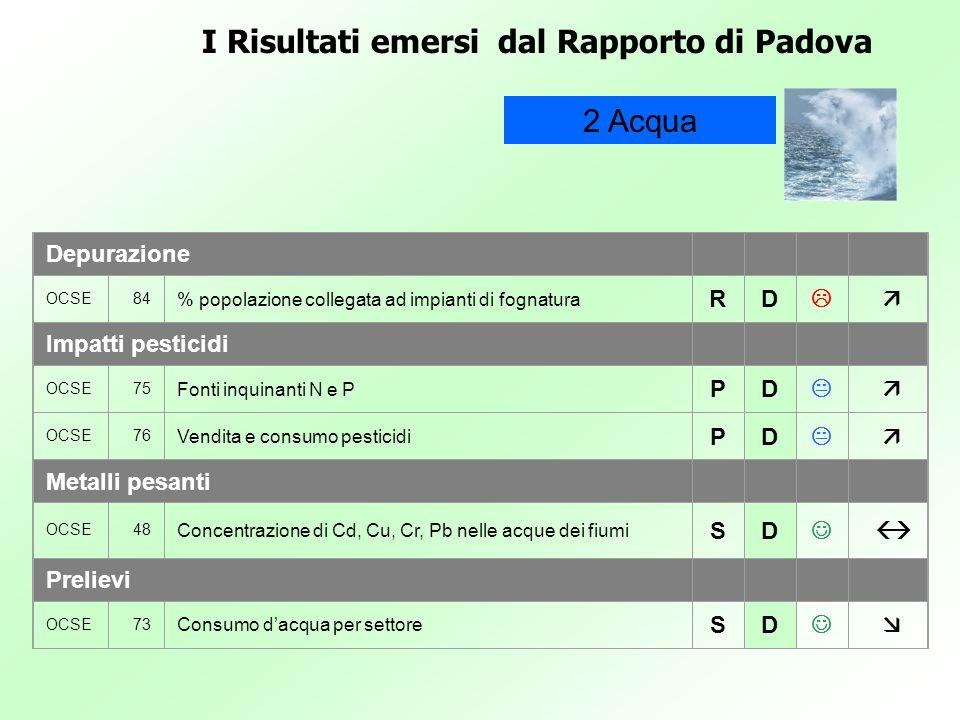 I Risultati emersi dal Rapporto di Padova 2 Acqua Depurazione OCSE84 % popolazione collegata ad impianti di fognatura RD Impatti pesticidi OCSE75 Font