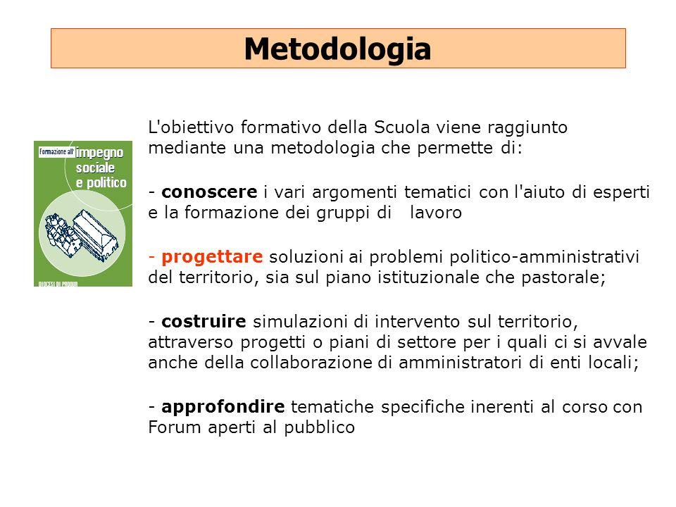 Metodologia L'obiettivo formativo della Scuola viene raggiunto mediante una metodologia che permette di: - conoscere i vari argomenti tematici con l'a