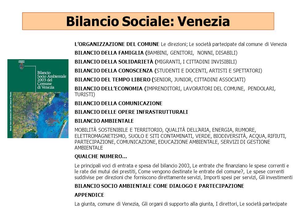 Bilancio Sociale: Venezia LORGANIZZAZIONE DEL COMUNE Le direzioni; Le società partecipate dal comune di Venezia BILANCIO DELLA FAMIGLIA (BAMBINI, GENI