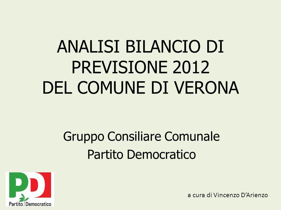 ANALISI BILANCIO DI PREVISIONE 2012 DEL COMUNE DI VERONA Gruppo Consiliare Comunale Partito Democratico a cura di Vincenzo DArienzo
