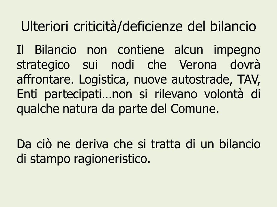 Ulteriori criticità/deficienze del bilancio Il Bilancio non contiene alcun impegno strategico sui nodi che Verona dovrà affrontare.