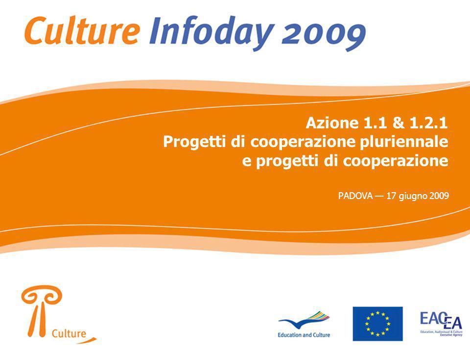 Azione 1.1 & 1.2.1 Progetti di cooperazione pluriennale e progetti di cooperazione PADOVA 17 giugno 2009