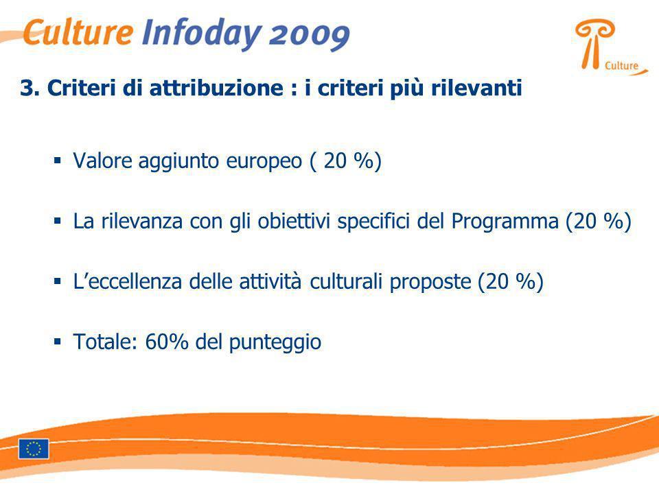 3. Criteri di attribuzione : i criteri più rilevanti Valore aggiunto europeo ( 20 %) La rilevanza con gli obiettivi specifici del Programma (20 %) Lec