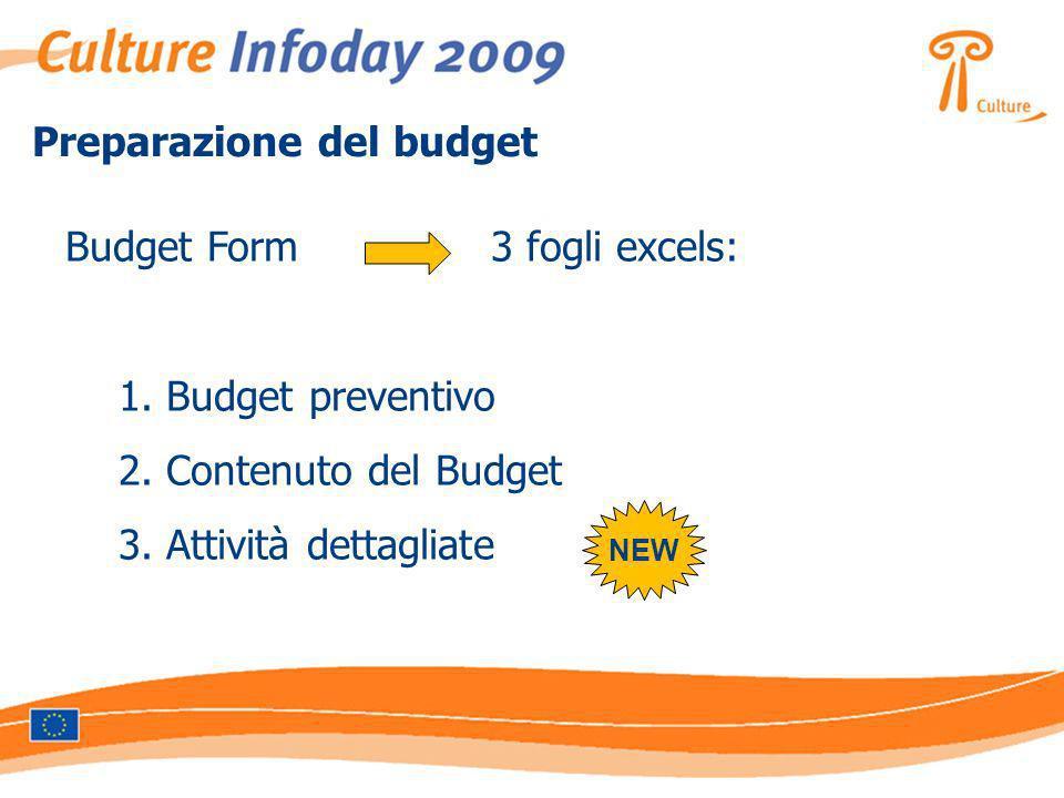 Budget Form 3 fogli excels: 1. Budget preventivo 2. Contenuto del Budget 3. Attività dettagliate NEW Preparazione del budget