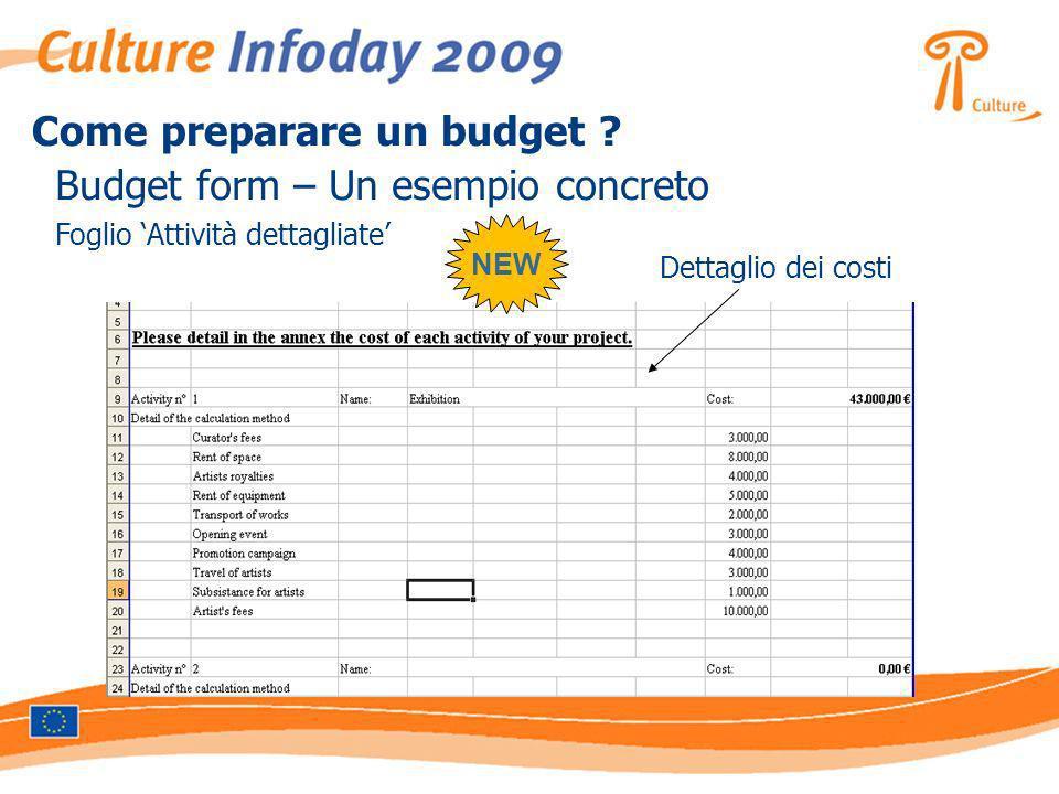 Budget form – Un esempio concreto Foglio Attività dettagliate Dettaglio dei costi NEW Come preparare un budget