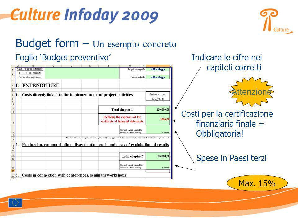 Foglio Budget preventivoIndicare le cifre nei capitoli corretti Budget form – Un esempio concreto Attenzione Costi per la certificazione finanziaria finale = Obbligatoria.