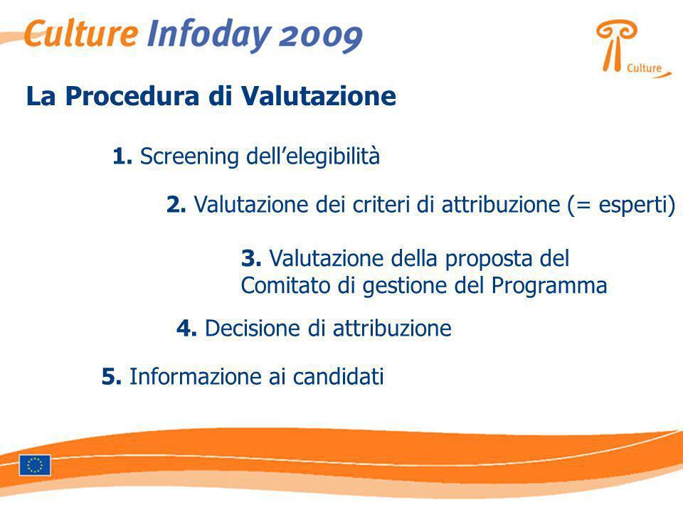 La Procedura di Valutazione 1. Screening dellelegibilità 2. Valutazione dei criteri di attribuzione (= esperti) 3. Valutazione della proposta del Comi