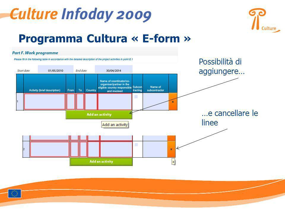 Programma Cultura « E-form » Possibilità di aggiungere… …e cancellare le linee