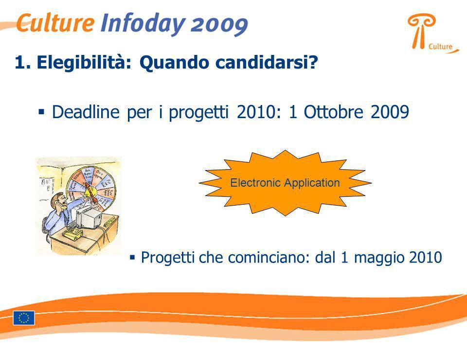 1. Elegibilità: Quando candidarsi? Deadline per i progetti 2010: 1 Ottobre 2009 Electronic Application Progetti che cominciano: dal 1 maggio 2010