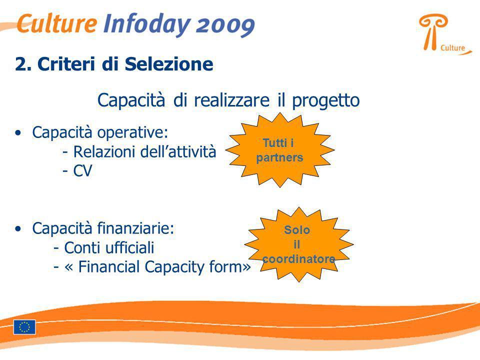 2. Criteri di Selezione Capacità operative: - Relazioni dellattività - CV Capacità finanziarie: - Conti ufficiali - « Financial Capacity form» Capacit