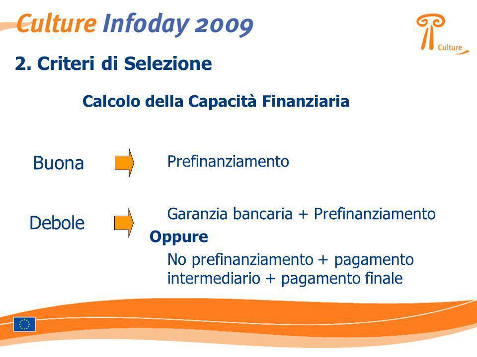2. Criteri di Selezione Calcolo della Capacità Finanziaria Buona Prefinanziamento Debole Garanzia bancaria + Prefinanziamento Oppure No prefinanziamen
