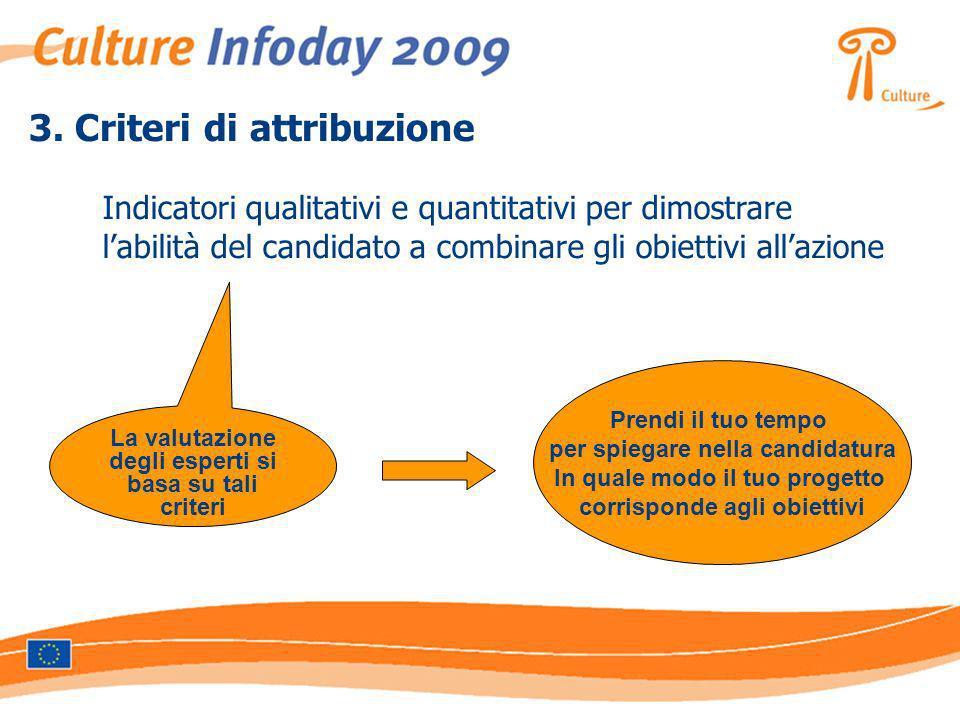3. Criteri di attribuzione Indicatori qualitativi e quantitativi per dimostrare labilità del candidato a combinare gli obiettivi allazione La valutazi