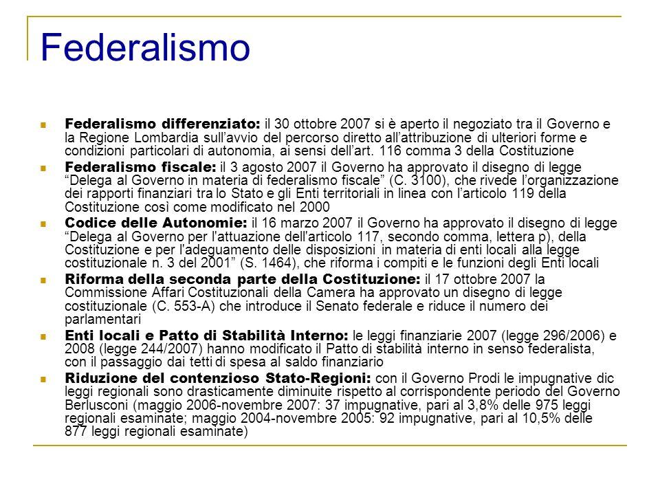 Federalismo Federalismo differenziato: il 30 ottobre 2007 si è aperto il negoziato tra il Governo e la Regione Lombardia sullavvio del percorso diretto allattribuzione di ulteriori forme e condizioni particolari di autonomia, ai sensi dellart.