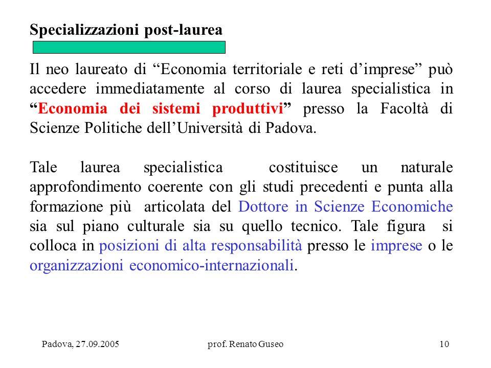 Padova, 27.09.2005prof. Renato Guseo10 Specializzazioni post-laurea Il neo laureato di Economia territoriale e reti dimprese può accedere immediatamen