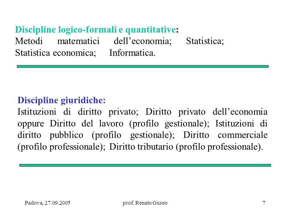 Padova, 27.09.2005prof. Renato Guseo7 Discipline logico-formali e quantitative: Metodi matematici delleconomia; Statistica; Statistica economica; Info
