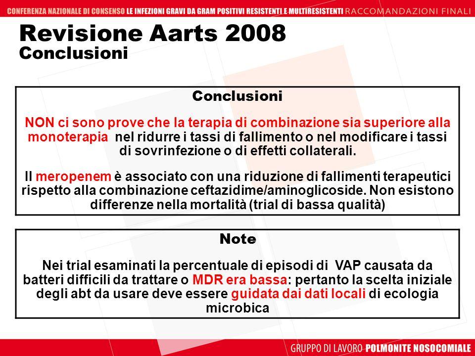 Revisione Aarts 2008 Conclusioni Conclusioni NON ci sono prove che la terapia di combinazione sia superiore alla monoterapia nel ridurre i tassi di fa