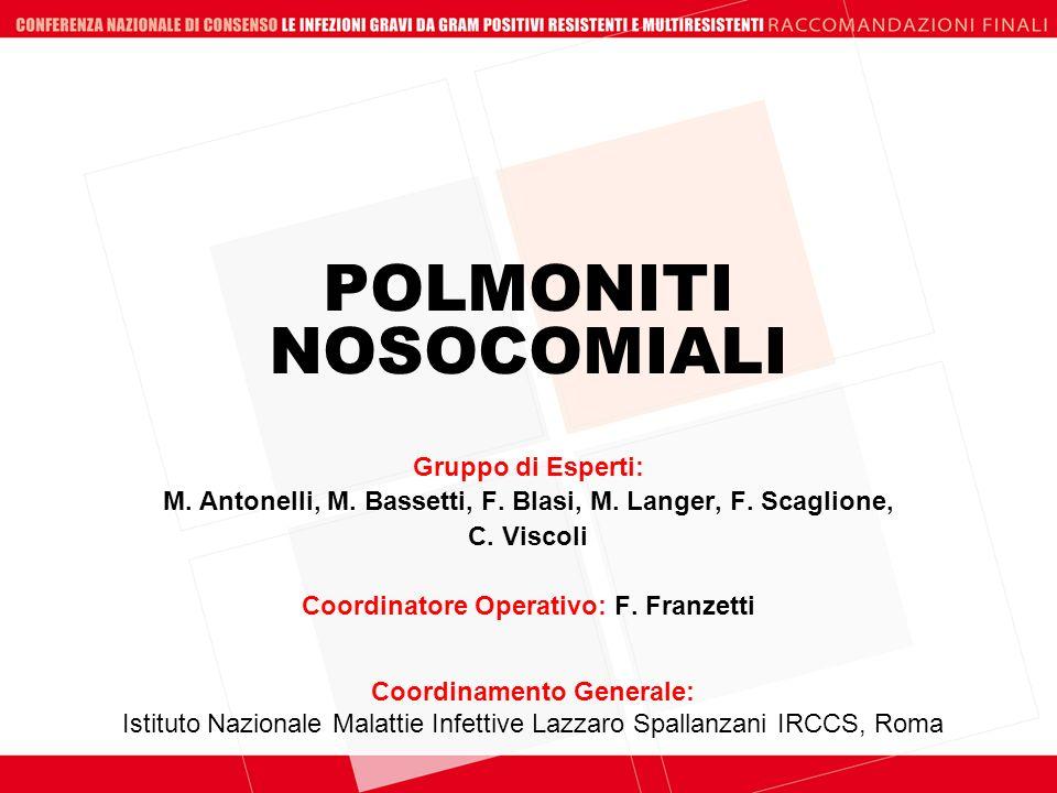 POLMONITI NOSOCOMIALI Coordinamento Generale: Istituto Nazionale Malattie Infettive Lazzaro Spallanzani IRCCS, Roma Gruppo di Esperti: M. Antonelli, M