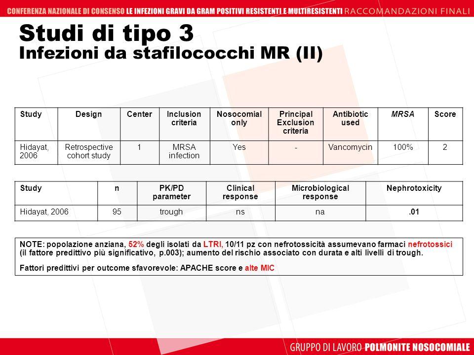 Studi di tipo 3 Infezioni da stafilococchi MR (II) NOTE: popolazione anziana, 52% degli isolati da LTRI, 10/11 pz con nefrotossicità assumevano farmac