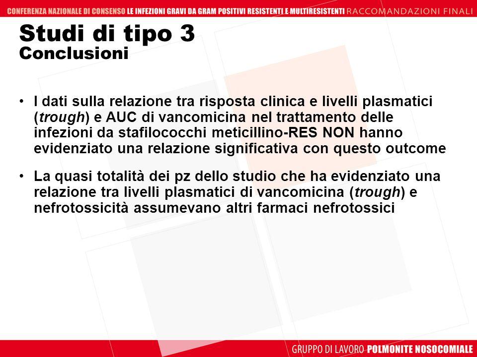 Studi di tipo 3 Conclusioni I dati sulla relazione tra risposta clinica e livelli plasmatici (trough) e AUC di vancomicina nel trattamento delle infez