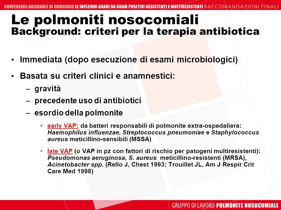 Le polmoniti nosocomiali Background: criteri per la terapia antibiotica Immediata (dopo esecuzione di esami microbiologici) Basata su criteri clinici