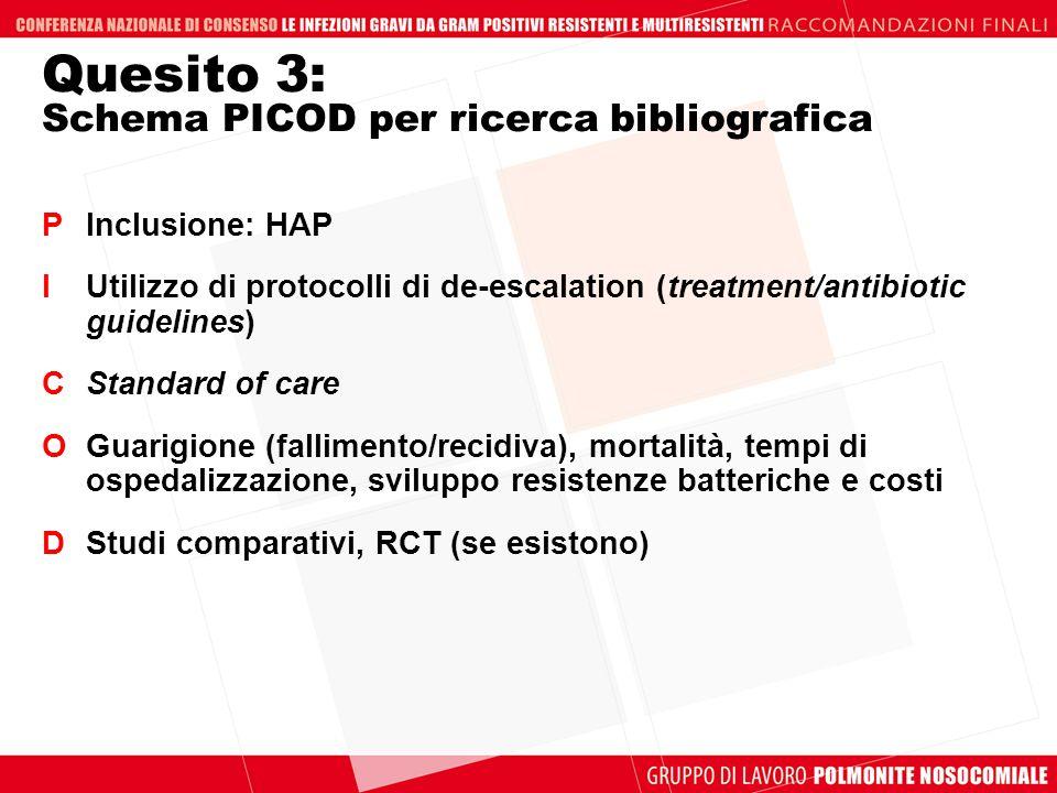 Quesito 3: Schema PICOD per ricerca bibliografica PInclusione: HAP IUtilizzo di protocolli di de-escalation (treatment/antibiotic guidelines) CStandar
