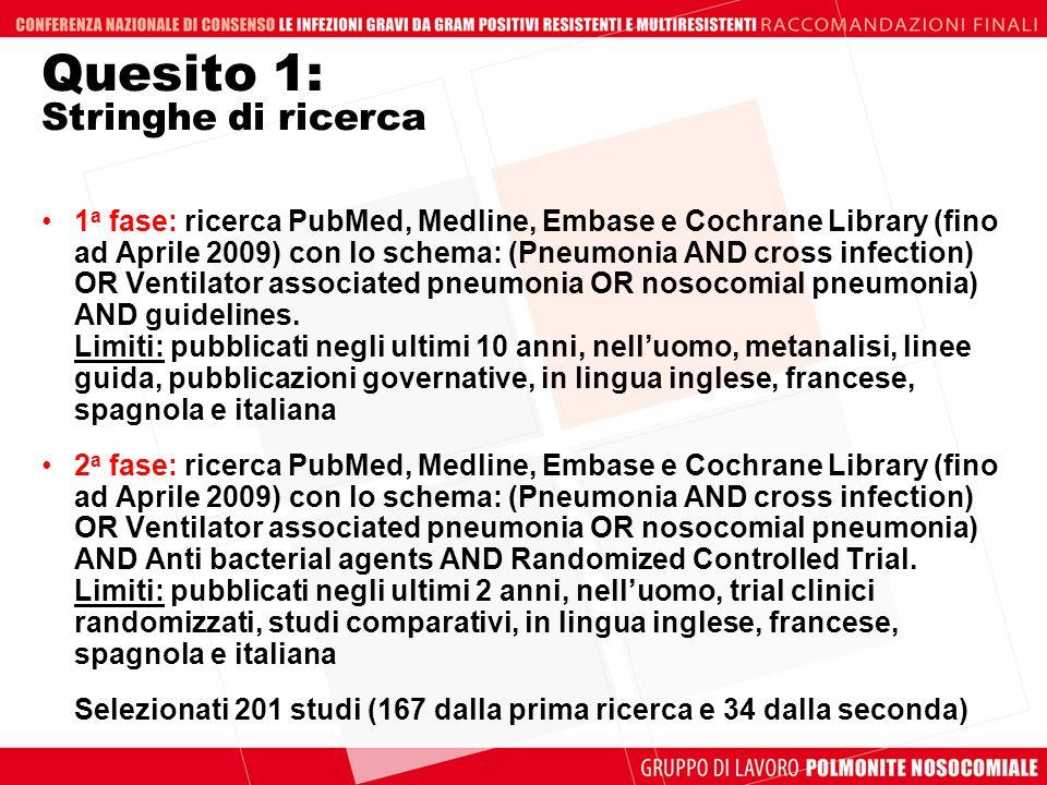 Quesito 1: Stringhe di ricerca 1 a fase: ricerca PubMed, Medline, Embase e Cochrane Library (fino ad Aprile 2009) con lo schema: (Pneumonia AND cross