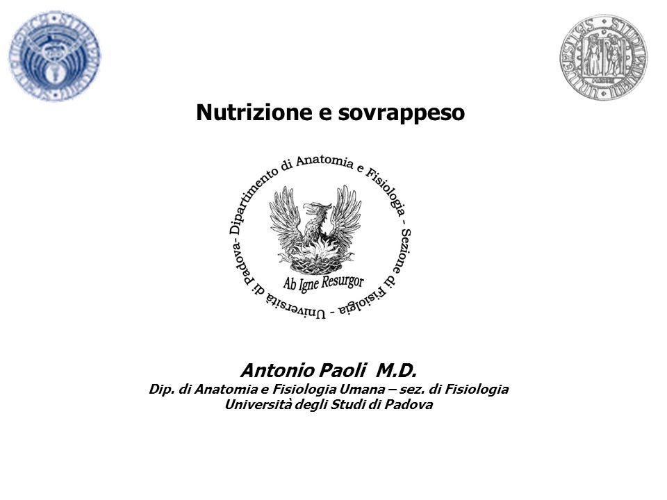 Nutrizione e sovrappeso Antonio Paoli M.D. Dip. di Anatomia e Fisiologia Umana – sez. di Fisiologia Università degli Studi di Padova